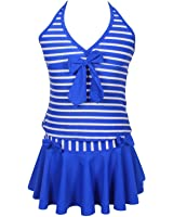 Qyqkfly Girls Elegant Inspired Colorful Two Piece Stripe Tankini Swimsuit (FBA)