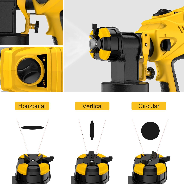 min Pistolet /à Peinture /Électrique avec 3 Configurations de Pulv/érisation 4 Buses Pulv/érisateur de Peinture D/étachable pour Conteneur de 33.8 fl oz 600W Pour Les Projets de Bricolage URCERI 1200ml