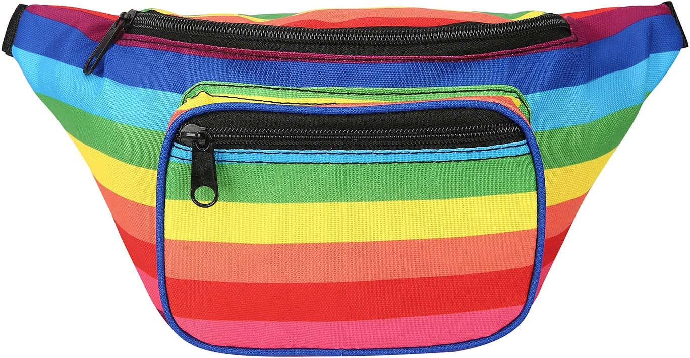 HDE Fanny Pack [80's Style] Waist Pack Outdoor Travel Crossbody Hip Bag (Rainbow)