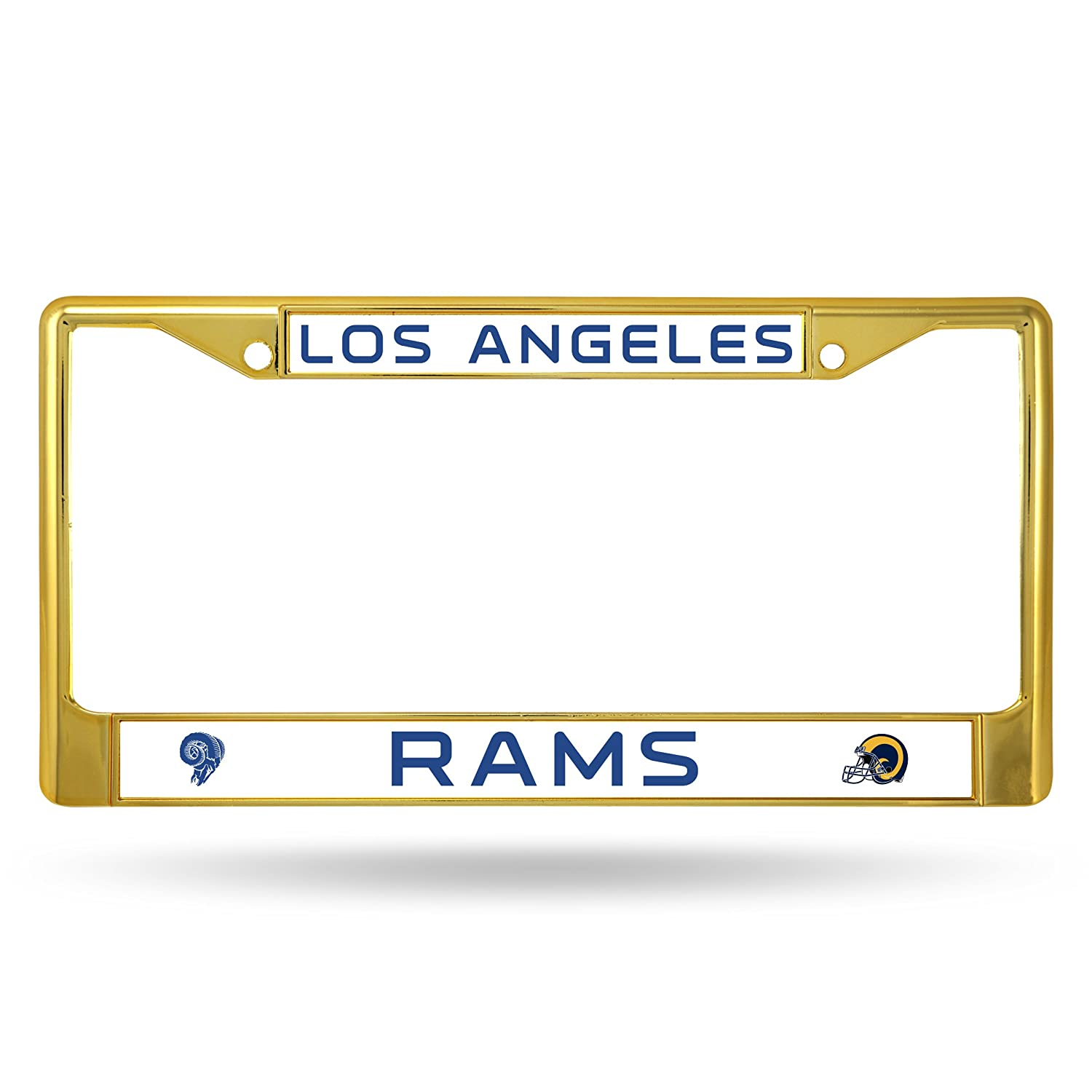 Gold Rico Industries NFL Los Angeles Rams Team Colored Chrome License Plate Frame
