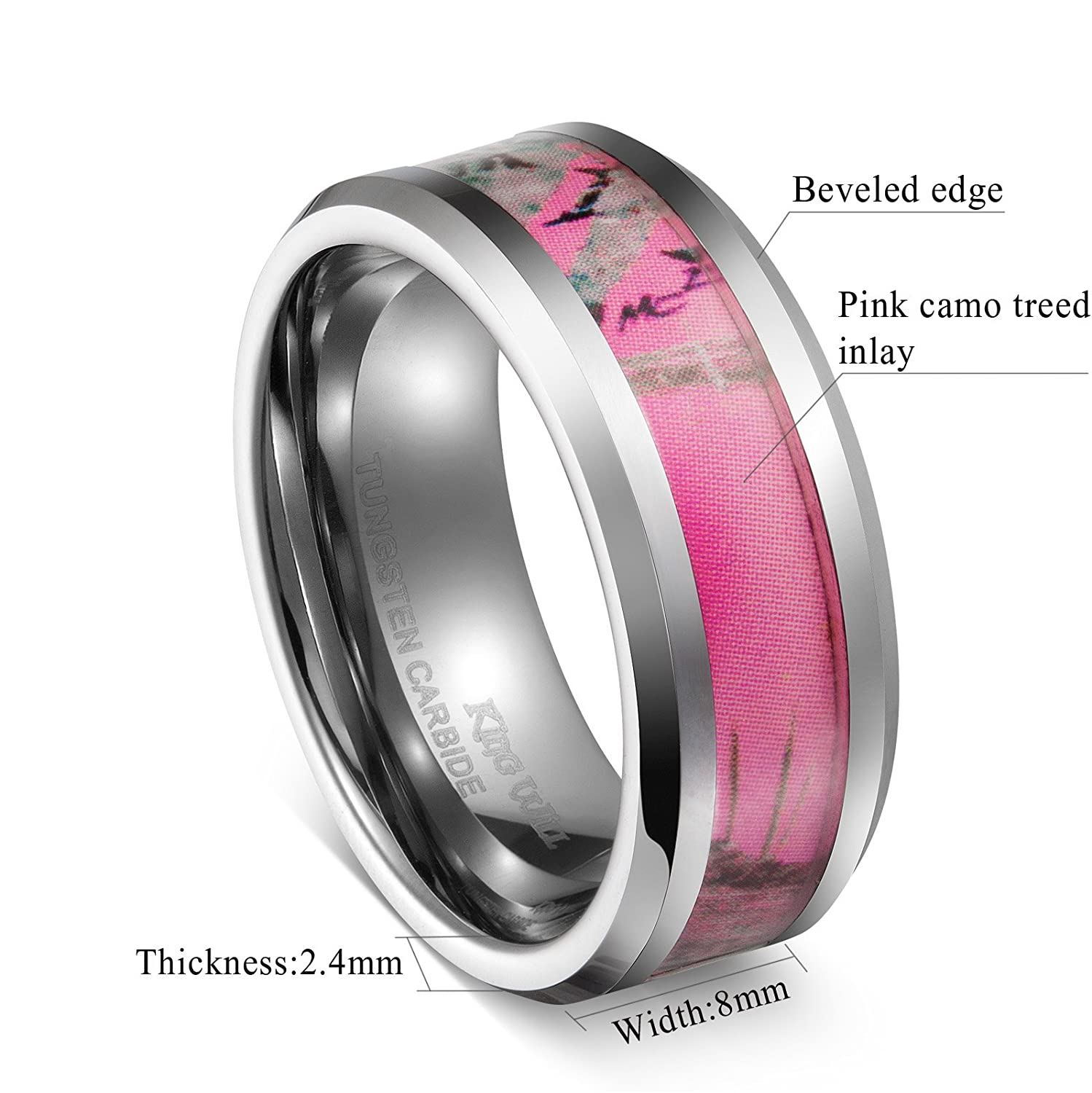 BY pink camo wedding rings Amazon com King Will 8mm Tungsten Carbide Ring Women s Camo Hunting Camouflage Wedding Band Pink Tree Jewelry