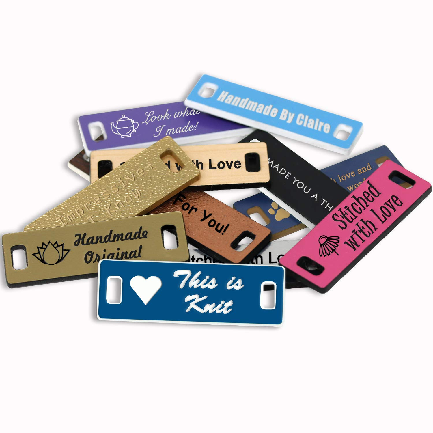LHS Engraving | Personalized Handmade Tags Custom Engraved Blue Plastic Sewing & Knitting Supplies White Lettering USA - B9