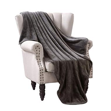 Exclusivo Mezcla Large Flannel Velvet Plush Throw Blanket – 50  x 70  (Grey)