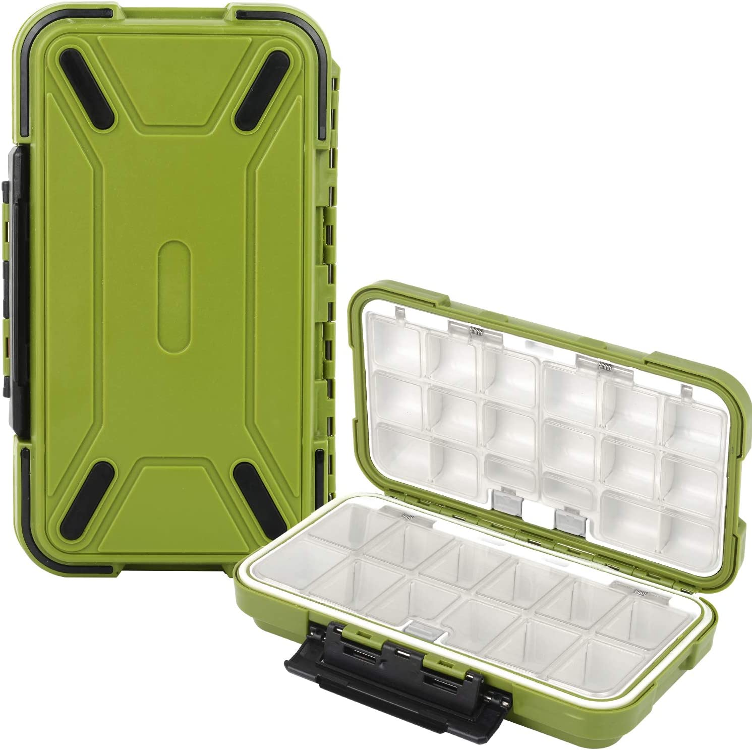Compact Fishing Tackle Box Lures Hooks Accessory Storage Case with Dividers