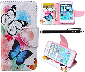 iPhone SE Case, iPhone 5S Case Wallet, iYCK Premium PU Leather Flip Folio Carrying Magnetic Closure Protective Shell Wallet Case Cover for iPhone 5/5S/SE/5SE with Kickstand Stand - Butterfly Flower
