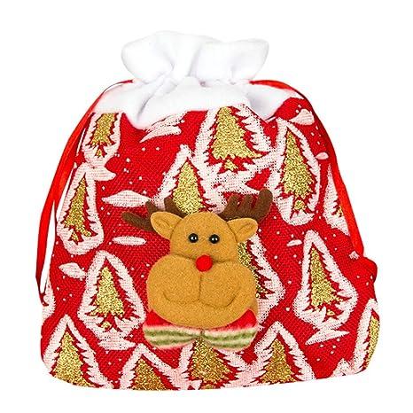 Topdo Bolsa de Regalo Navidad con Cajas de Cuerda Atado Portátil Elk Gift Bag Decoración Colgante para Navidad Fiesta de Boda Bolsas de Regalo 1 Pieza ...
