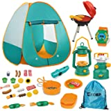 Mitcien Kids Camping Tent Gear Set Pop Up Play Tent with Pretend BBQ Toys Camping Tools for Toddlers Boys Girls for Indoor an