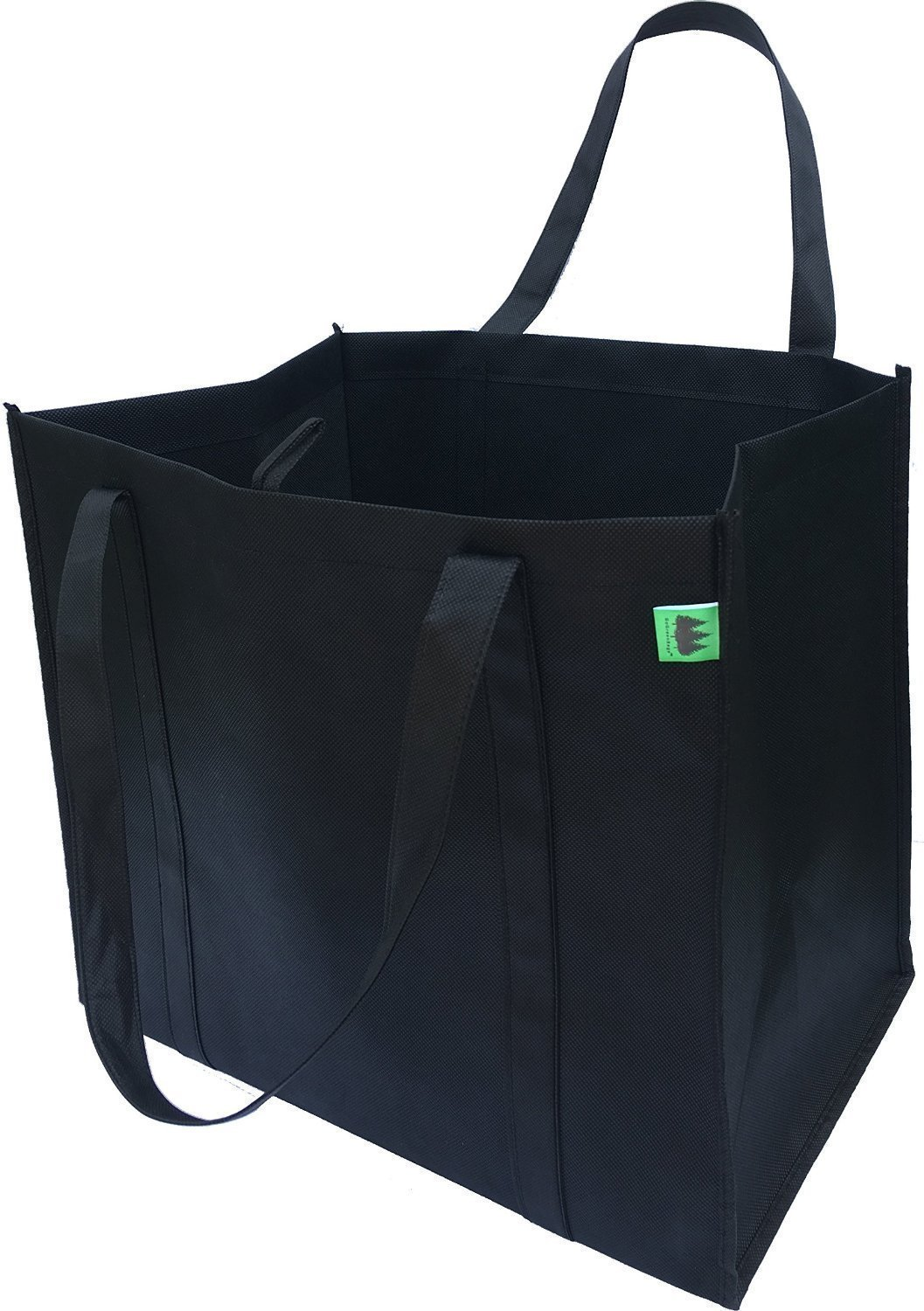 Reusable Grocery Bags (5 Pack, Black) - Hold 40+ lbs - Extra Large & Super Strong, Heavy Duty Shopping Bags - Grocery Tote Bag with Reinforced Handles & Thick Plastic Bottom for Strength GoGreenBags FBA_ggb001