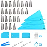 Ouddy Piping Bags and Tips Set Cake Decorating Supplies Kit Frosting Tips and Bags with 18 Piping Tips 3 Reusable Silicone Pa