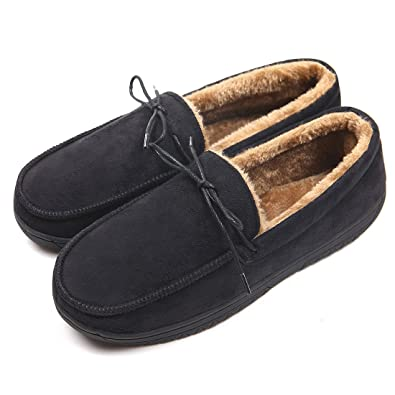 c97398fb45c65 ChicNChic Men Warm Black Faux Suede Loafers Flat Moccasin Slippers Winter  Indoor Outdoor Shoes (6.5