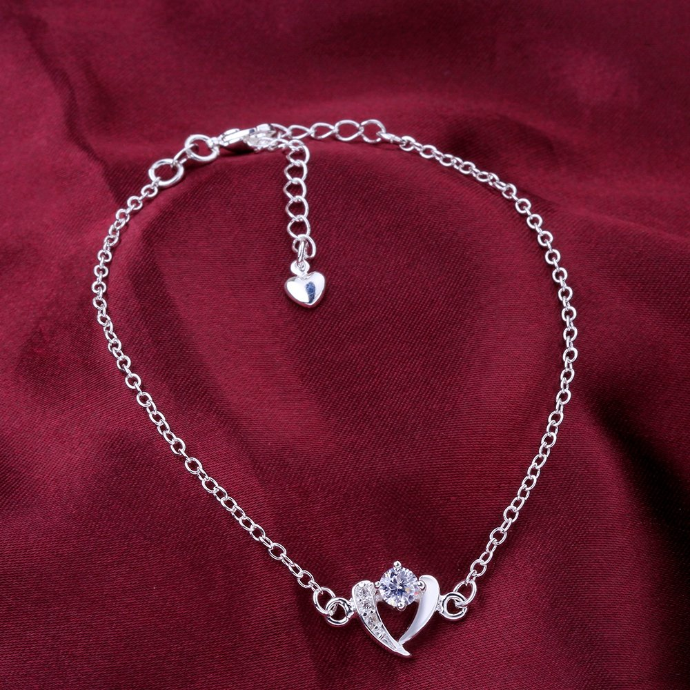 GYAYA Zircon Silver Plated Anklets For Heart Shaped Lucky Clover Flowers (Heart shaped) by GYAYA (Image #3)