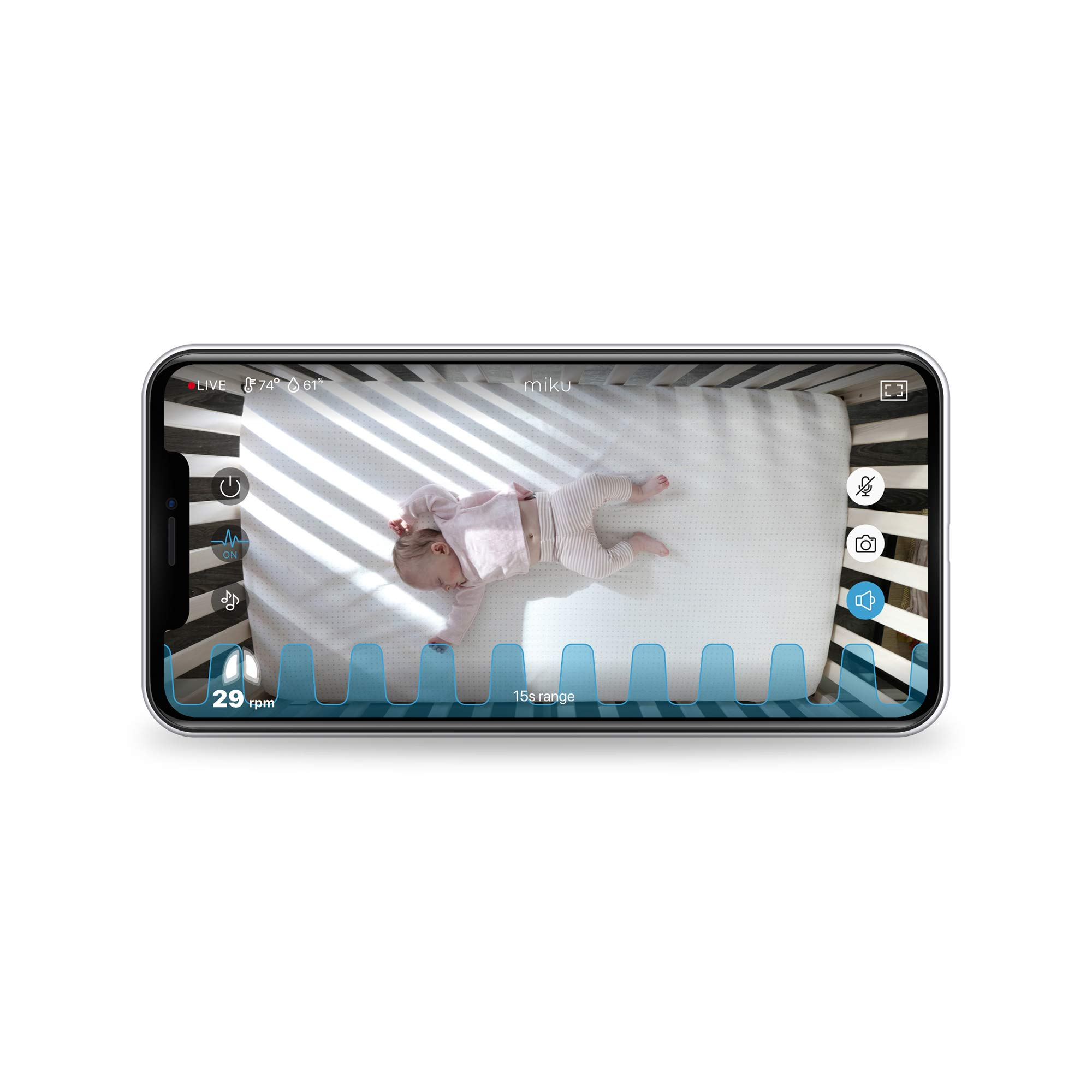 Miku Smart Baby Monitor - Contact-Free Breathing & Sleep Monitor with Night Vision, Two-Way Talk - Motion, Sound, Humidity & Temperature Detector - App Integrated & Wi-Fi Enabled, Real-Time Monitoring by Miku (Image #3)