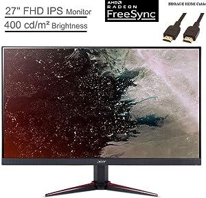 "Acer Nitro VG270 27"" Widescreen IPS Monitor, FHD 1920 x 1080 Screen, AMD FreeSync, 1ms Response Time, 400 cd/m² Brightness, VGA & DisplayPort, HDMI, Black, BROAGE HDMI Cable 5ft"