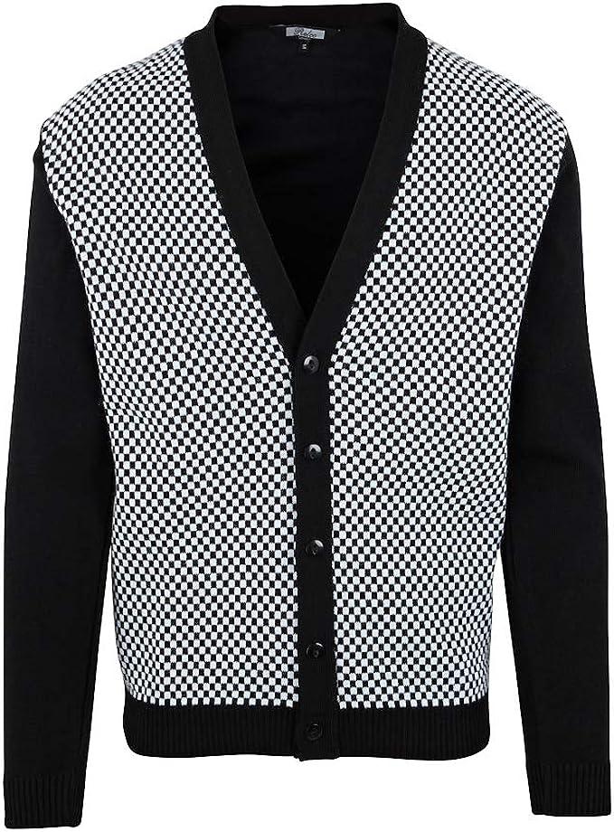 Mens Relco Retro 60s Mod Ska Checkered Button Knit Cardigan
