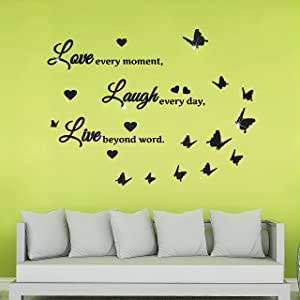 3D Acrylic Mirror Wall Stickers Living Room Decor Quote Wall Decals Live Laugh Love Decoration Motivational Acrylic Wall Sign Decal Art DIY Mirror Sticker for Home Living Room Bedroom (Black)