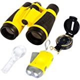 Kids Binoculars. Nature Exploration Adventure Toys. 5 PC Outdoor Adventure Set. Compass, Magnifying Glass, Flashlight, Backpack and Binoculars for Kids. Educational Outdoor Toys for Kids