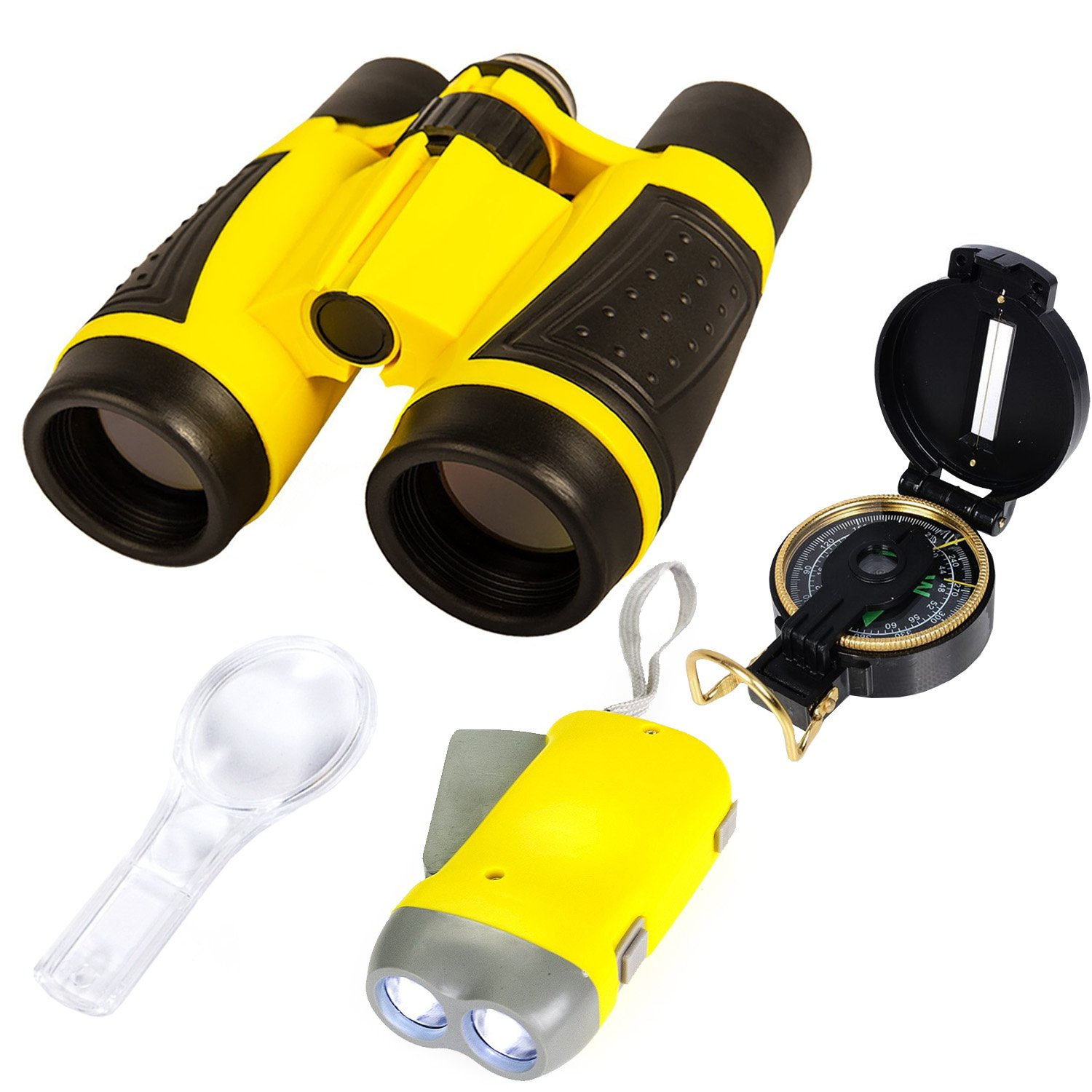 Boxiki Kids Nature Exploration Adventure Toys | 5 PC Outdoor Adventure Set | Compass, Magnifying Glass, Flashlight, Backpack & Binoculars For Kids | Educational Outdoor Toys for Boys & Girls