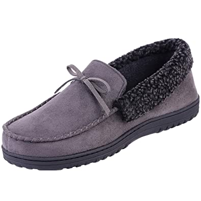 13239093bb71a7 HomeIdeas Men's Faux Fur Lined Suede Comfort House Slippers, Anti-Slip  Autumn Winter Indoor