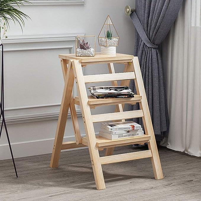 Escalera de madera Taburetes plegables para el hogar ...