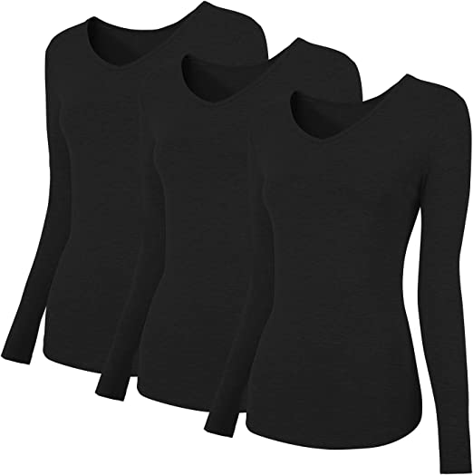 Womens Stretchy Plain Long Sleeve Top Tees Ladies Casual Wear T Shirt Pack Of 3
