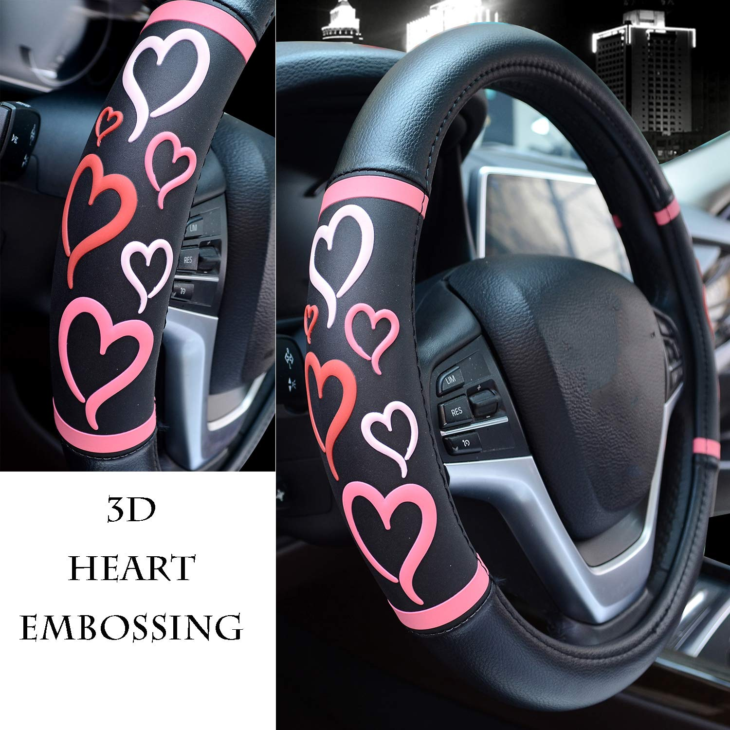 Didida Steering Wheel Covers for Women Men Couple New 3D Heart Embossing Love Cartoon Microfiber Leather Universal 15 Inch Blue