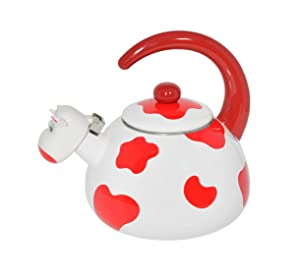 HOME-X Red Cow Whistling Tea Kettle, Cute Animal Teapot, Kitchen Accessories and Decor