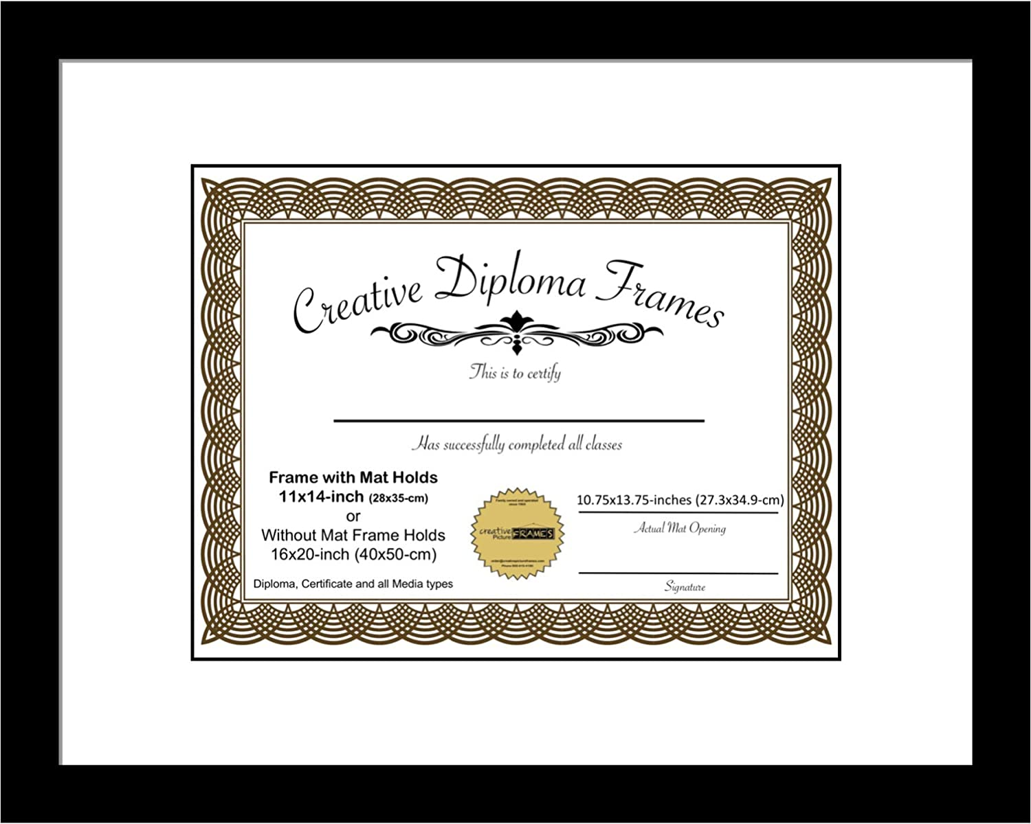 Creative Picture Frames 11x14 Classic Black Diploma Frame with White Mat Glass Easel and Installed Wall Hangers   Frame Holds 16x20 Media Without Mat