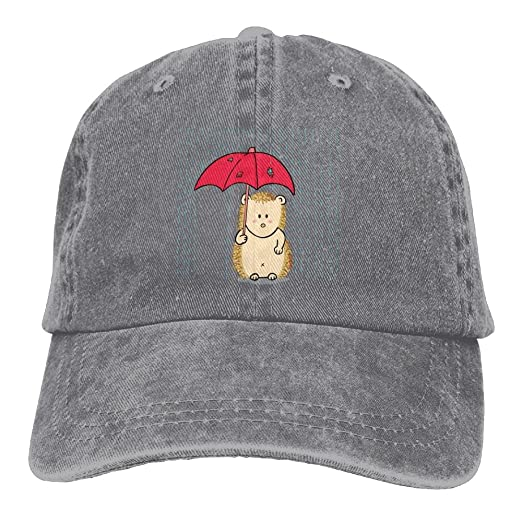 Arsmt Hedgehog With Umbrella Rain Denim Hat Adjustable Women Vintage Baseball  Cap ac6b2cb73bf