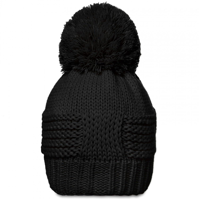 CASPAR Unisex klassische Winter Mütze / Bommelmütze / Strickmütze mit schönem Strickmuster und großem Bommel - viele Farben - MU085