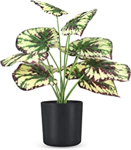 """Fake Potted Plants - 15"""" Large Artificial Plants for Home Office Decor - Faux Potted Plants Used for Desk Top Decor(Purple Begonia"""