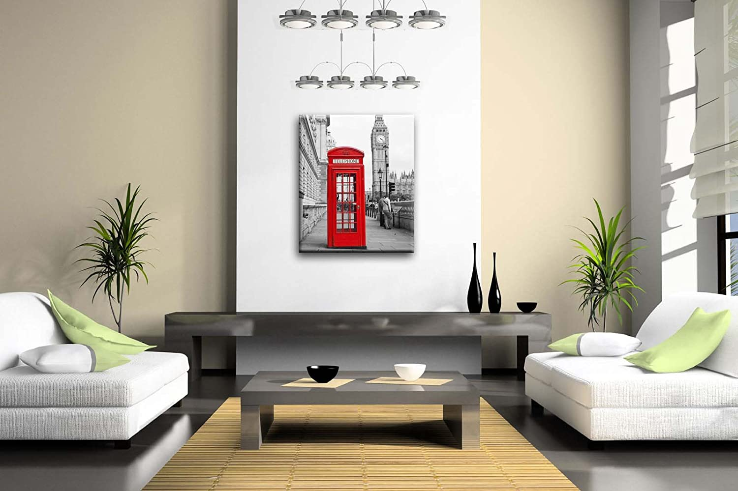 Amazon.com: Black And White & Red Red Telephone Booth And Big Ben In ...