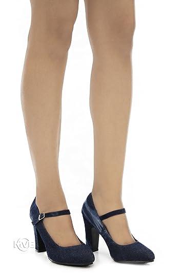 MVE Shoes Comfort Womens Mary Jane Round Block Chunky High Heel  B077BJ9MZ1