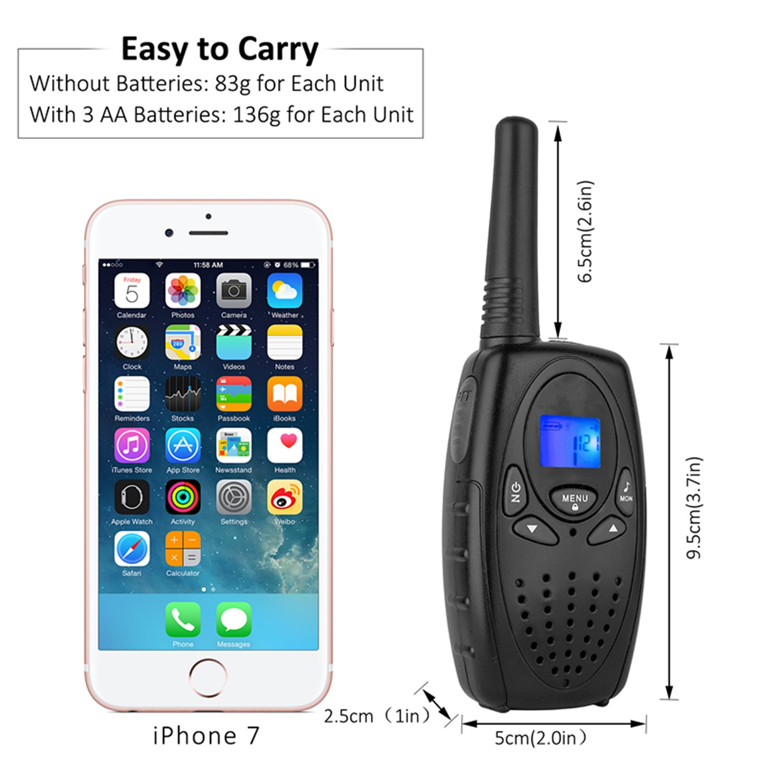 Walkie Talkies for Adults, Topsung M880 FRS Two Way Radio Long Range with VOX Belt Clip/Hand Held Walky Talky with 22 Channel 3 Mile for Family Home Cruise Ship Camping Hiking (Black 2 in 1) by Topsung (Image #4)