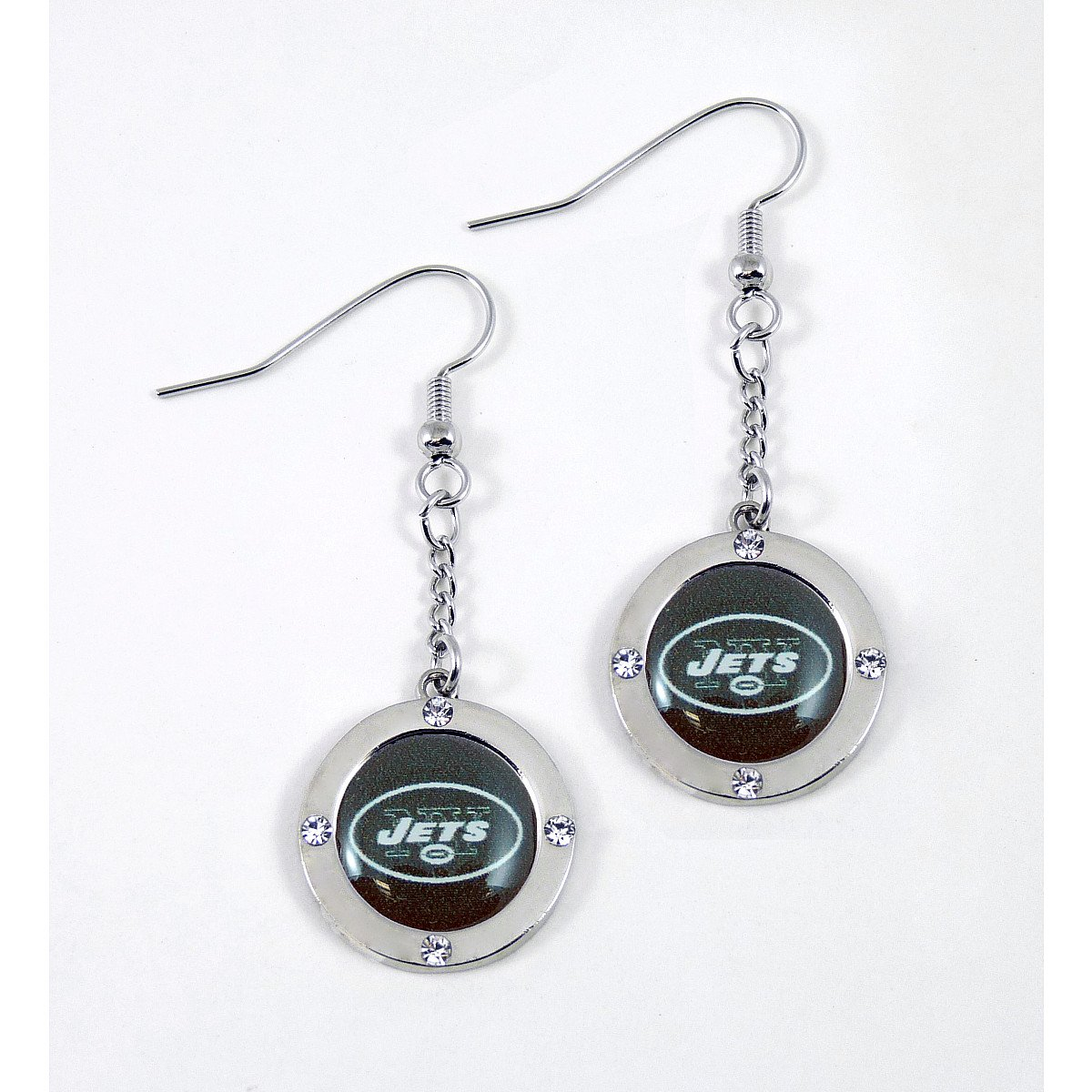 NFL New York Jets Crystal Dangle Earrings