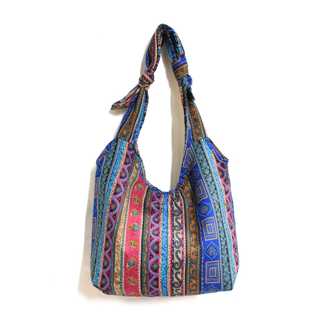 Ethnic Style Cotton Fabrics Shoulder Crossbody Bag Multicolored Travel Women Everyday Bucket Bag