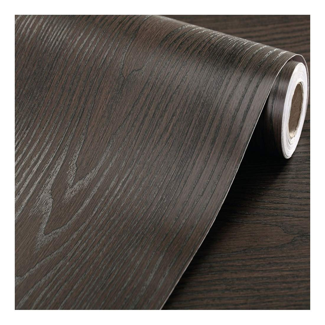 Faux Wood Grain Contact Paper Self Adhesive Vinyl Shelf Liner Covering for Kitchen Countertop Cabinets Drawer Furniture Wall Decal (23.4''Wx117''L,Black-Brown sandalwood)