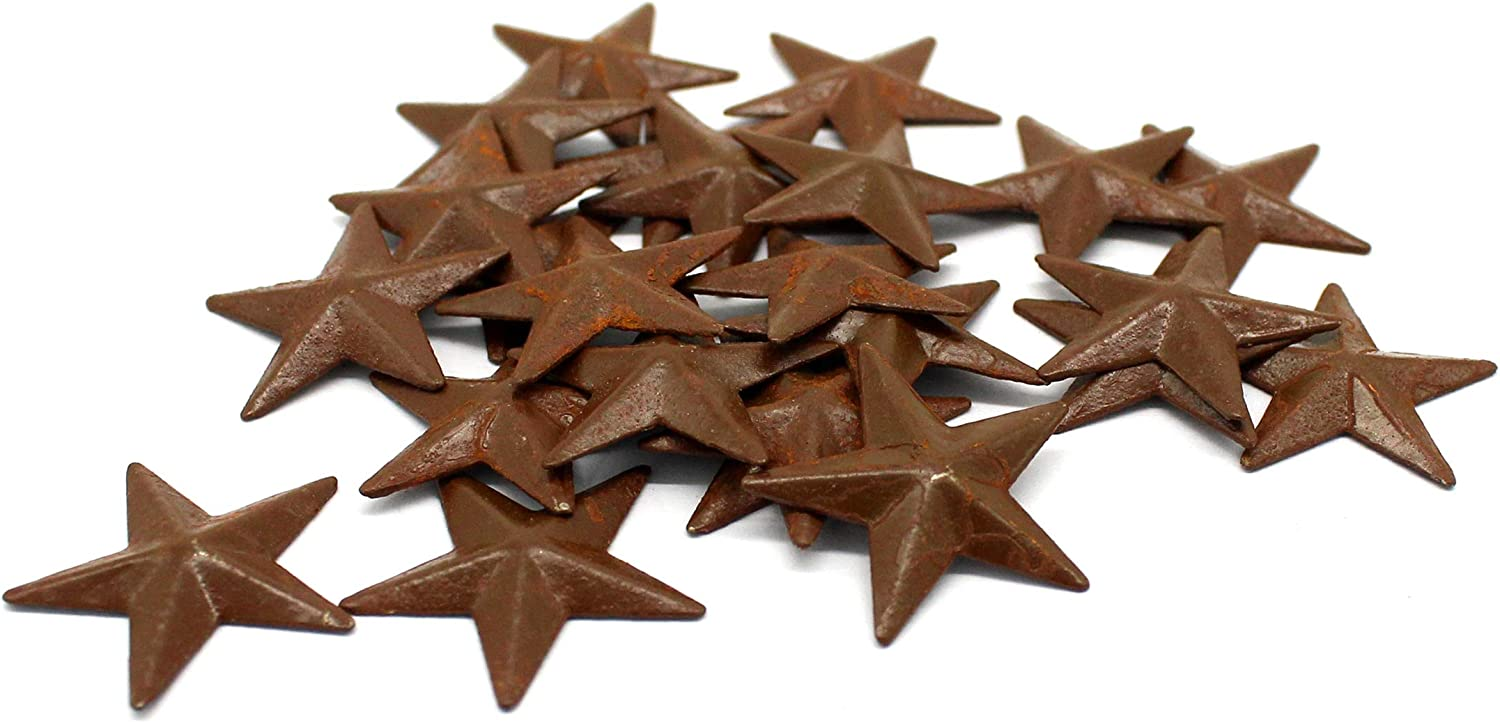 CVHOMEDECO. Primitives Rustic Country Décor. Rusty Mini Metal Barn Star Home Decorative Accents, 1-Inch, Set of 24
