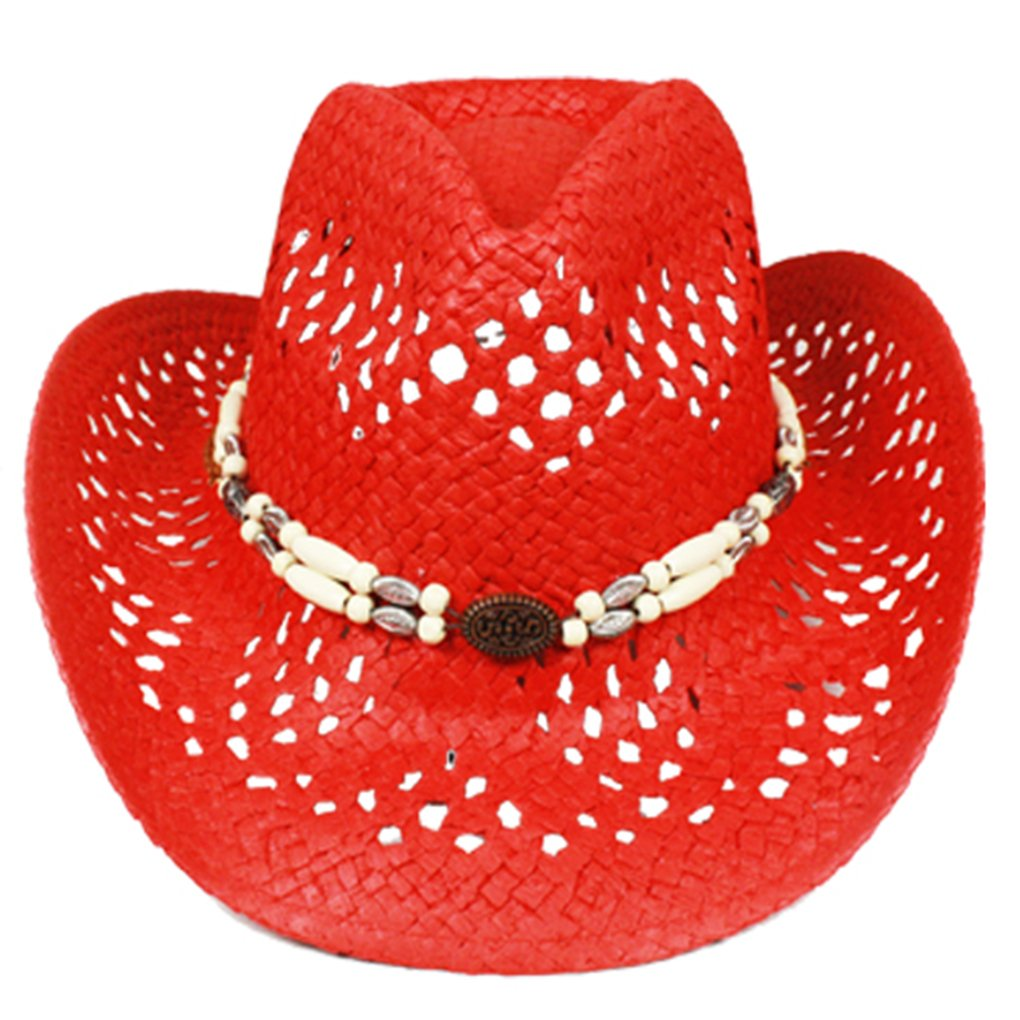Silver Fever Ombre Woven Straw Cowboy Hat with Cut-Outs,Beads, Chin Strap (Red, Beaded) by SILVERFEVER