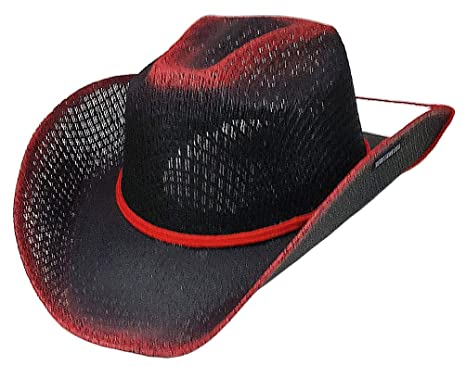 654faaa183c438 Image Unavailable. Image not available for. Color: Modestone Unisex Straw  Cowboy Hat Chinstring Black