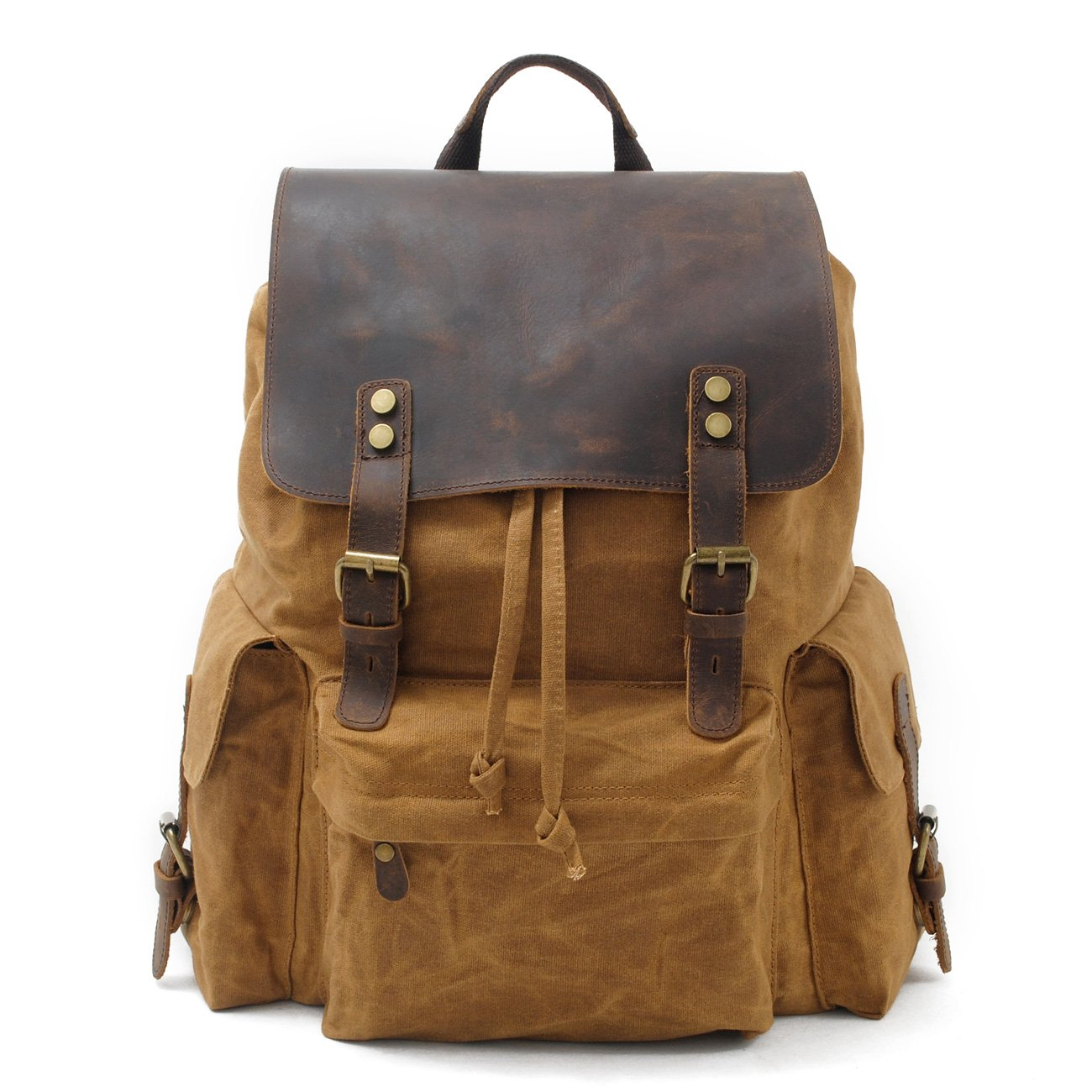 Unisex Vintage Canvas Genuine Cow Leather Travel Campus Book-bag School Bags fits 17 Inch Laptop Backpack Rucksack Daypack (Khaki)