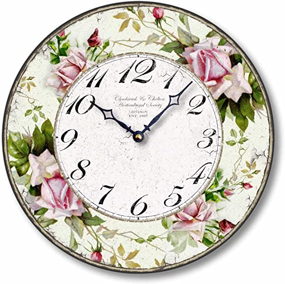 Fairy Freckles Studios Item C1126 Vintage Style 12 Inch Pink Roses Clock