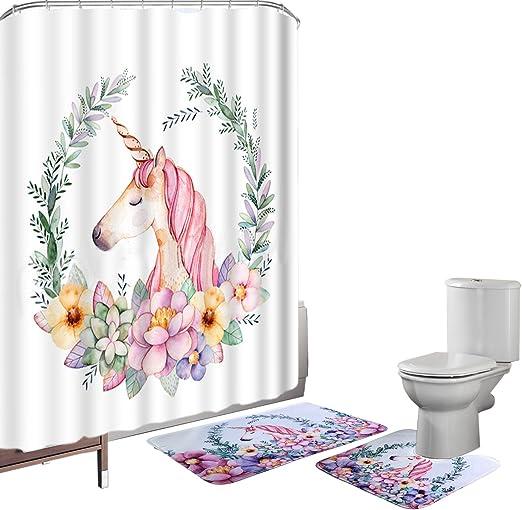 "Baby Shower Cute Unicorn 72X72/"" Polyester Fabric Shower Curtain Set Bathroom Mat"