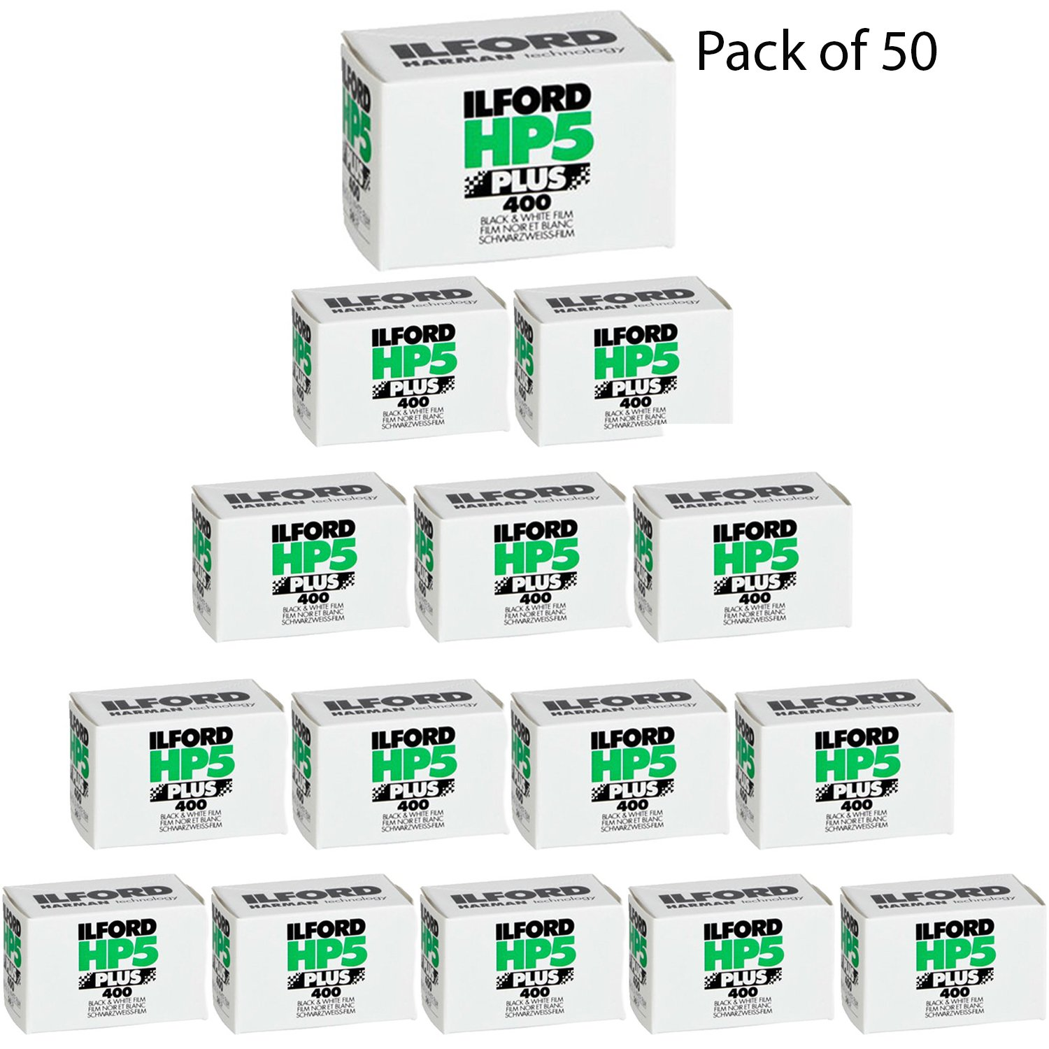 Ilford HP5 Plus Black and White Negative Film (35mm Roll Film, 36 Exposures, 50 Pack) by Ilford