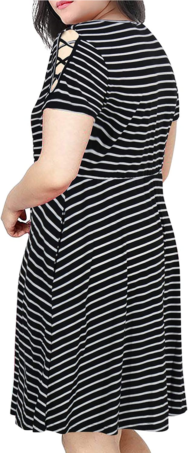 Nemidor Womens Short Sleeves Scoop Neckline Striped Print Plus Size Fit and Flare Dress