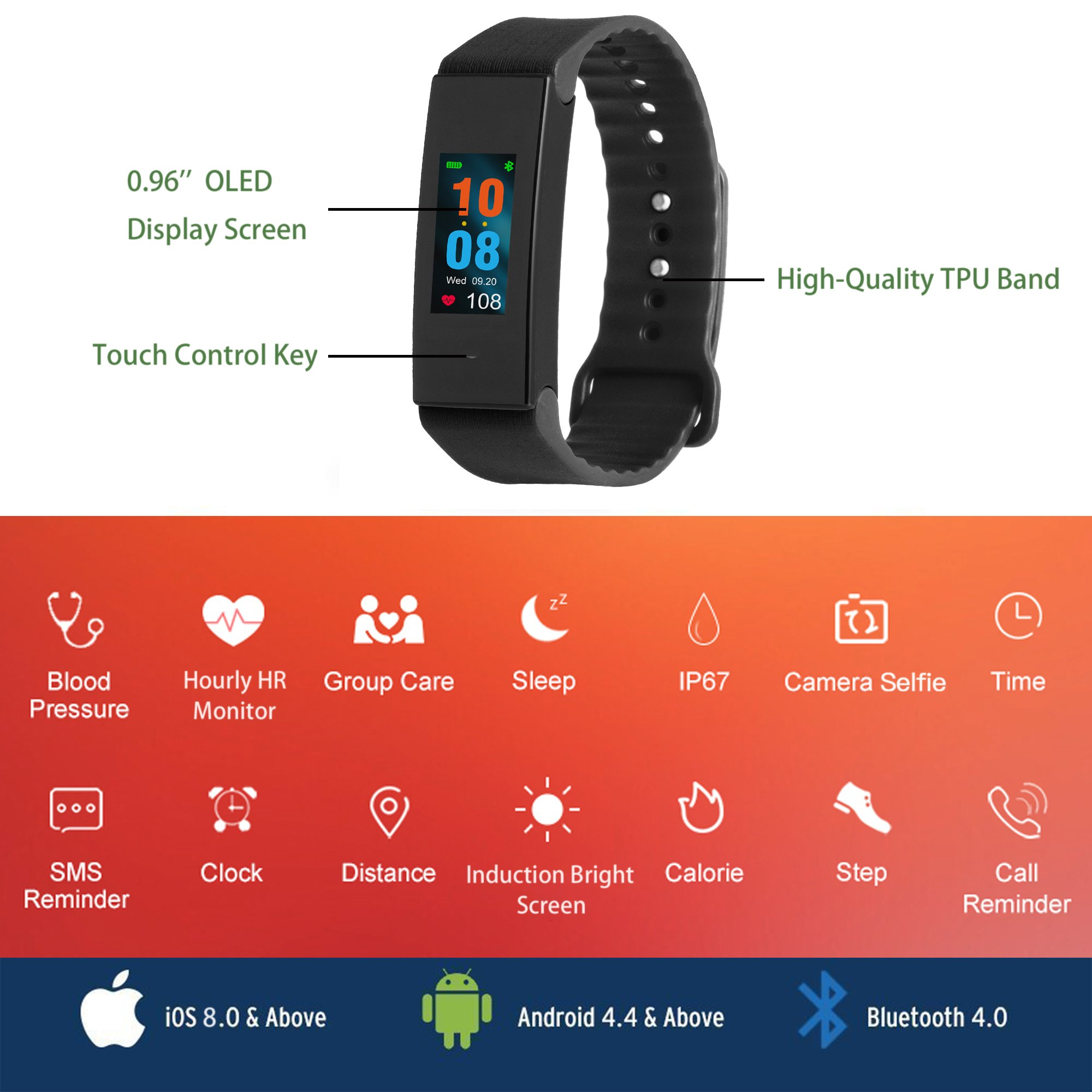 Fitplus Fitness Tracker Watch,Heart Rate Monitor Activity Tracker,IP67 Waterproof Smart Band,Pedometer Watch with Replacement Band,Blood Pressure Monitor,Sleep Monitor,Step Calorie Distance Counter