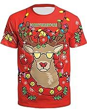 LHJ Unisex Ugly Christmas T-Shirt 3D Print Funny Xmas Shirt