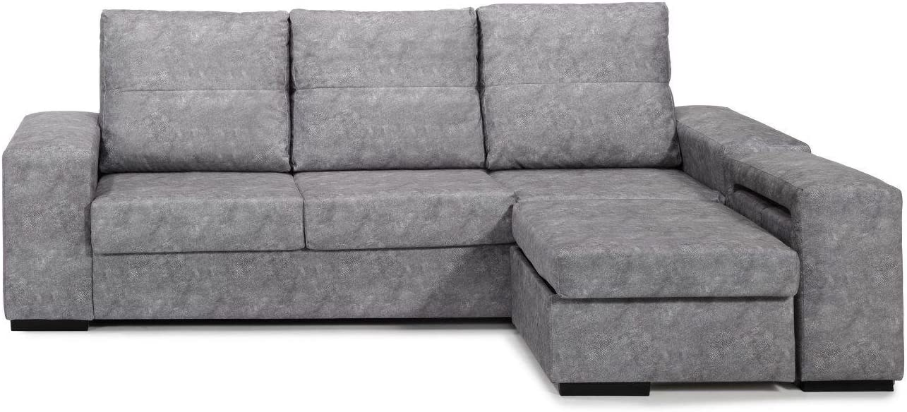 Sofa con sillón ChaiseLongue, Arcon abatible, Tres plazas, Color Gris,
