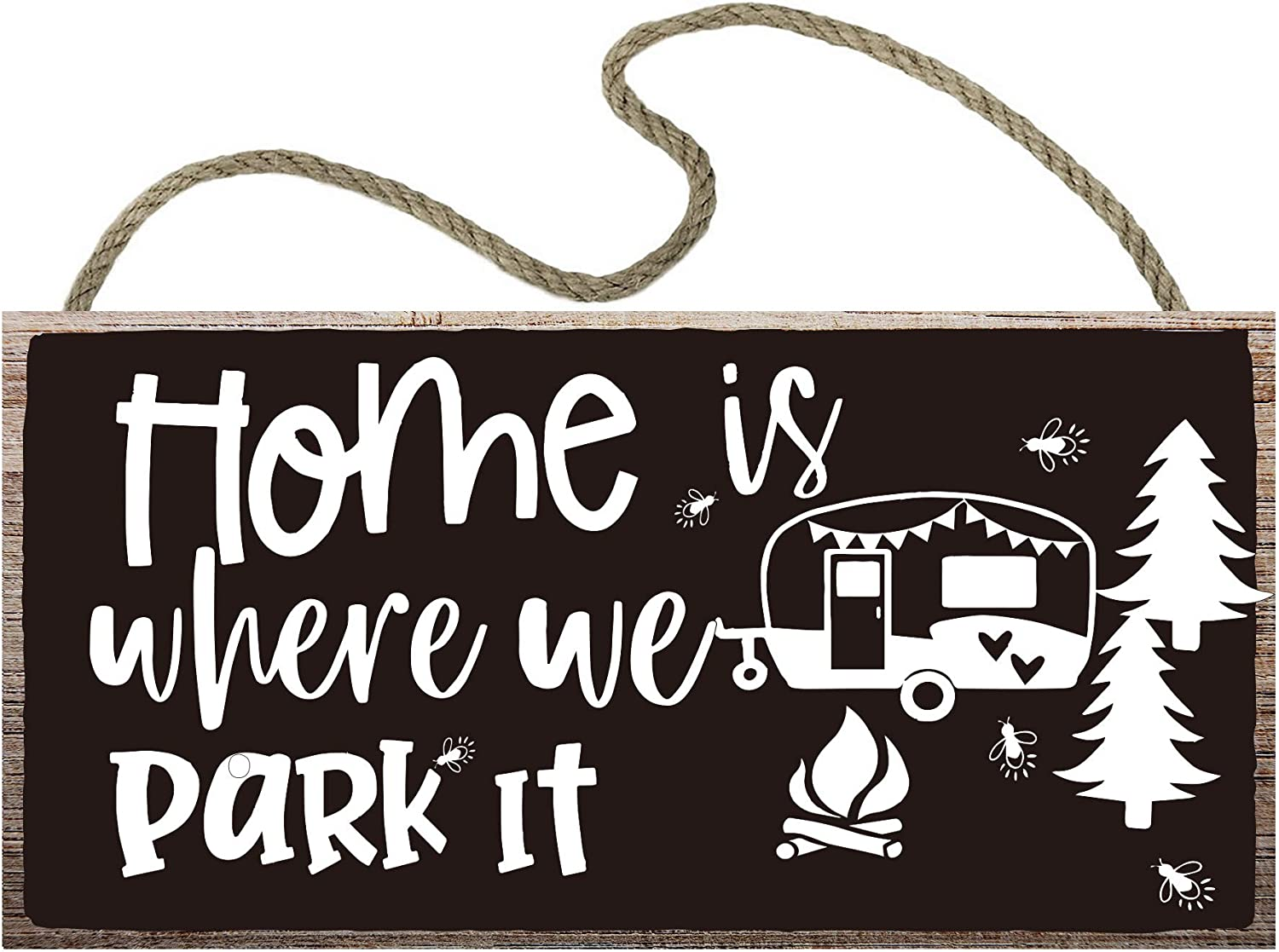 vizuzi Camping Camp Camper Wood Sign,12 x 6,Hanging Plaque Wood Plank Wall Art Decoration, Hunting Camper Room -Home is Where We Park It.