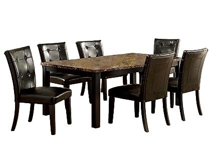 Amazon Com Furniture Of America Belleterre 7 Piece Dining Table
