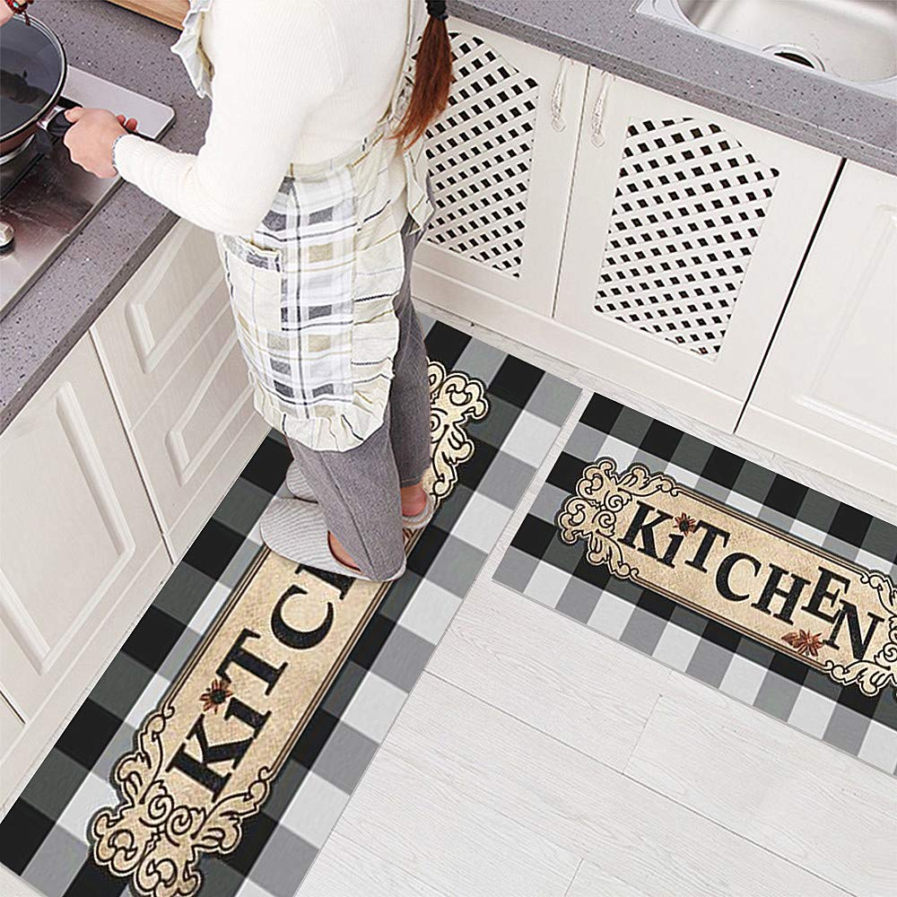 USTIDE Vintage Plaid Rug, Mocha/White Checkered Water Retainer Floor Mat Rug Durable Non-Slip Kitchen Mats/Doormat 2x4, 1pc